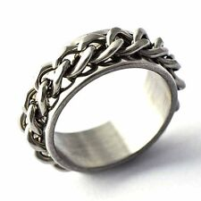 Fashion vintage Stainless Steel Rope Line Mens chain Ring Size 7,8,9,10,11,12