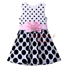 Toddlers Baby Girl Polka Dot Princess Dress Flower Sash Lovely Holiday Dresses