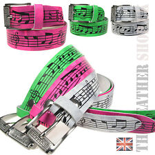38mm Music Print Colourful Mens Womens Belt Real Leather Handmade In UK