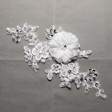 Off White Bridal Wedding Flower Beaded Sequin Sew on Embroidered Lace Applique