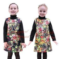 Baby Girls Flower Print Party Dress Fashion Floral New Year Pageant Birthday New