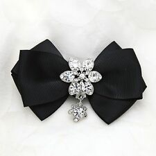 1 pair Black Red Ivory Colored Butterfly Bow Crystal Wedding Bridal Shoe Clips