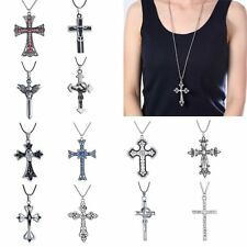 Wholesale Fashion Cross Pendant Necklace Long Sweater Chain Crystal Jewelry Prom