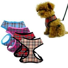 Adjustable Non Pull Soft Mesh Padded Tartan Vest Pet Dog Harness Puppy Collar