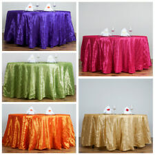 """108"""" Round Pintuck Fancy TABLECLOTH Wedding Party Table Linens Wholesale"""