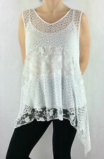 Womens/Ladies New Spring Crochet And Lace Sleeveless Scoop Neck Top With Vest