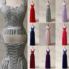 Stock New Long Chiffon Formal Prom Gowns Bridesmaid Party Cocktail Evening Dress