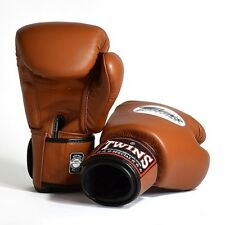 MUAY THAI KICK BOXING GLOVES TWINS SPECIAL MMA 8 10 12 14 16 18 OZ BGVL-3 BROWN