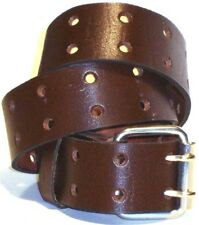 LEATHER BELT AMERICAN COWHIDE MADE IN USA 2 PRONGS SIZES S,M,L,XL 30-44
