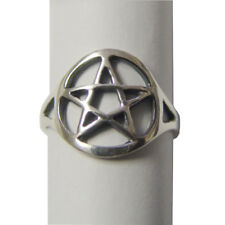 Silver Plated Pentagram Pentacle Star Ring Cut Out Style Gothic Wicca Pagan