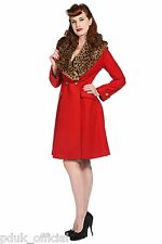 Womens New Banned Red Wool Leopard Vintage 1940s 1950s Style Winter Coat Sizes
