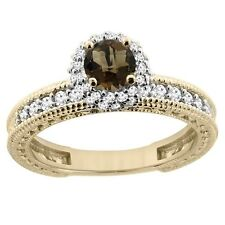 14k Yellow Gold Natural Smoky Topaz Round 4mm Engagement Ring Diamond Accents