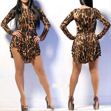 Fashion Sexy Women Leopard Clubwear Bandage Irregular Hem Bodycon Mini Dress