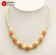 "SALE white 6-7mm natural round pearl with pink 9-10mm coral 17"" Necklace-nec5891"