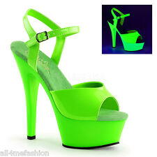 PLEASER KISS-209UV NEON GREEN PLATFORM POLE DANCE STRIPPER ANKLE STRAP HEELS
