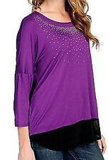 NEW Glitterscape Knit Combo Dolman Sleeved Embellished Sheer Trim Top M or 1X