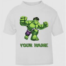 New Personalised Cute Hulk Movie T-Shirt Boys Girls Top Age Size gift kids cute