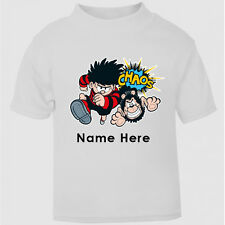 New Personalised Dennis The Menace Boys / Girls T-Shirt Top tumble Age Size kids