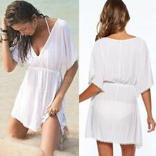 Women Bikini Cover up V Neck Beachwear Sundress Swimwear Tops Mini Dress Q5M1