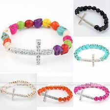 Women Howlite Turquoise Skull Crystal Cross Connector Bead Stretchy Bracelet New
