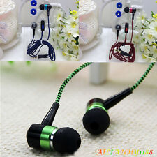 Braid Metal In-Ear Bass Stereo Earbud Earphone Headset With Mic For Smartphone