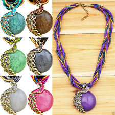 Fashion Handmade Millet Chain Delicate Crystal Peacock Pendant Necklace Jewelry