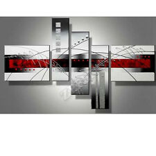 "5 Piece ""Perfect White Lines"" Artwork Hand-Painted Abstract Oil Paintings Canvas"