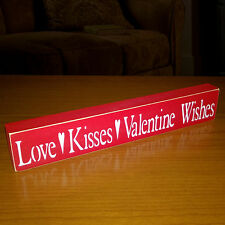 Love - Kisses - Valentine Wishes Wooden Shelf Sign - 12 Different Color Combos!