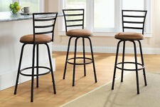 "3 Swivel Bar Stool Counter Height Kitchen Chairs Tall Metal Set Black 29"" 24"""