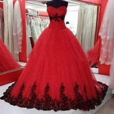 Vintage Red/Black Appliques Ball Gown Wedding Dresses Custom Made Bridal Dress