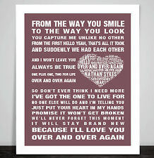 Nathan Sykes Over and Over Again music song lyric Word Art Print Love Heart Gift