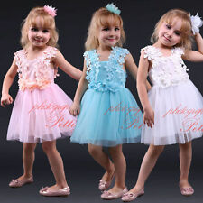 Baby Kids Flower Lace Tulle Girls Dress Birthday Wedding Pageant Christening