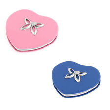 Heart Design Flower Detail Double Side Magnify Cosmetic Compact Mirror