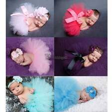 Newborn Baby Girls Tutu Dress Skirt Headband Photo Photography Prop Outfits