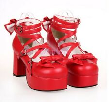 Lady HIgh Heels Lolita Mary Janes Cosplay Matte Shiny Leather Shoes Big Size
