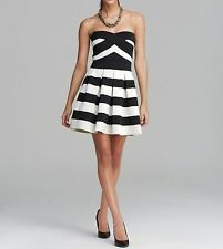 BCBG MAXAZRIA Alythea Strapless Sweetheart Mini Dress Black Cream Striped NWT