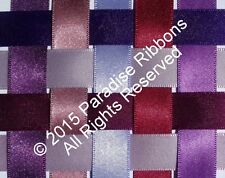2 METRES Berisfords Double Satin Ribbon 9 PURPLE SHADES - Choose WIDTH & SHADE