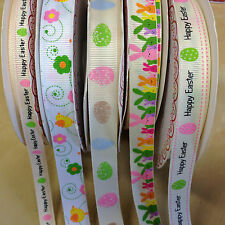 Happy Easter Grosgrain Ribbon Chick Eggs Bunny  2m 5m lengths or 25m reel 9-16mm