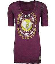 Affliction American Customs Dark Hearts ¾ Sleeve T shirt $58 NWT M AW4993 Plum