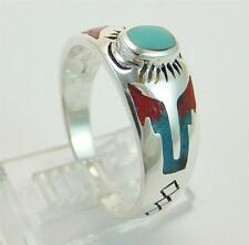 Sterling Silver Western Ring Turquoise Coral Size 6-10 Handmade Unique