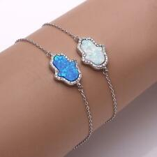 Hamsa Good Luck Charm Syntactic Fire Opal Stone Bracelet,925 Sterling Silver.
