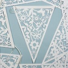 Vintage style paper lace bunting 20 pennants White 8 metres Wedding