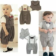 Baby Boy Wedding Christening Formal Party Tuxedo Suit Outfit+Vest Set 3-24M