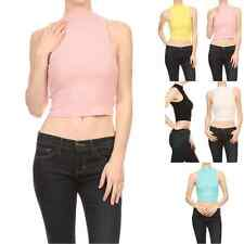 Women Tight Rib Knit Sleeveless Mockneck Turtleneck Cropped Tank Top Shirt
