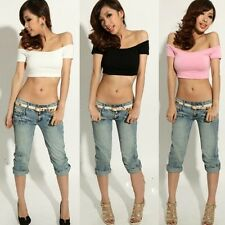 2015 New Womens Yoga T Belly Dance Top Sexy Off-shoulder Short Sleeve T-shirts