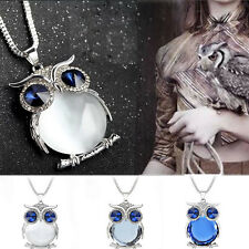Women Mystic Rhinestone Crystal Owl Pendant Necklace Long Sweater Chain Popular