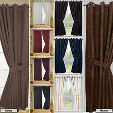 Fully Lined Jacquard Floral Leaf Detail Curtains + Tie Backs in 14 sizes
