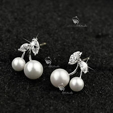 18k gold gp 925 silver made with Swarovski crystal pearl cherry stud earrings