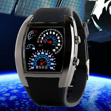 Luxury Aviation Turbo LED Watch Mens Dial Flash Ladies Car Meter Sports Watches