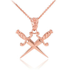 Rose Gold Double Crossed Daggers Pendant Necklace